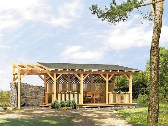 pergola din lemn cu acoperis si semineu